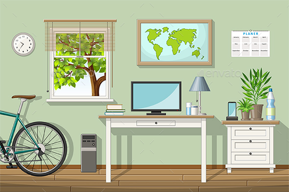 Illustration of a Classic Home Office - Miscellaneous Vectors
