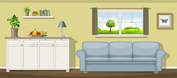 Illustration of a Classic Living Room - Miscellaneous Vectors