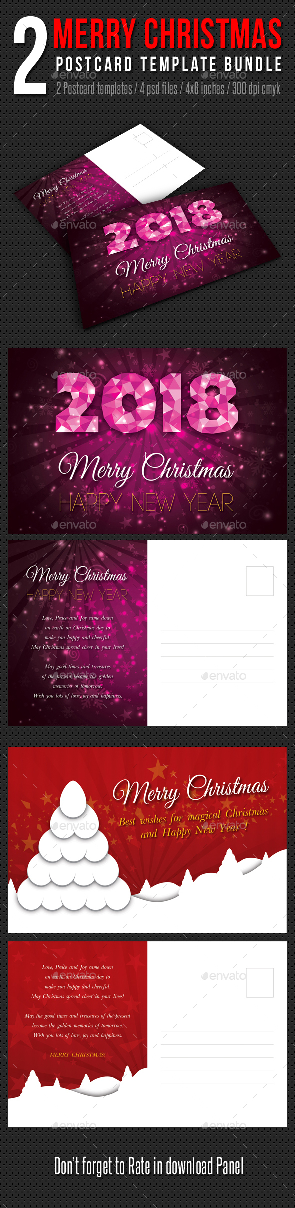 2 in 1 Merry Christmas Postcard Template Bundle - Holiday Greeting Cards
