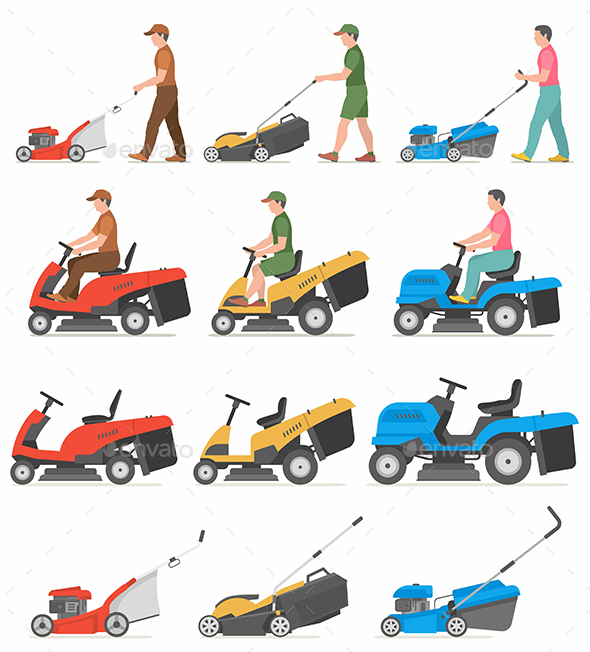 Man Mowing Lawn - Miscellaneous Vectors