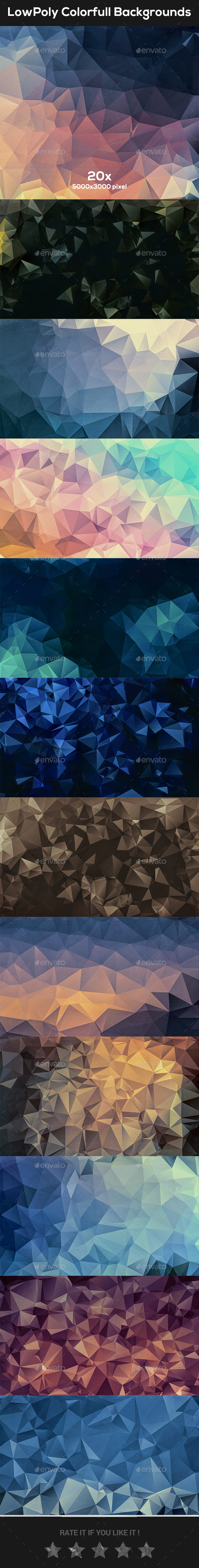 LowPoly Colorful Backgrounds - Abstract Backgrounds