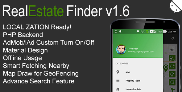 RealEstate Finder Full Android Application v1.6 - CodeCanyon Item for Sale