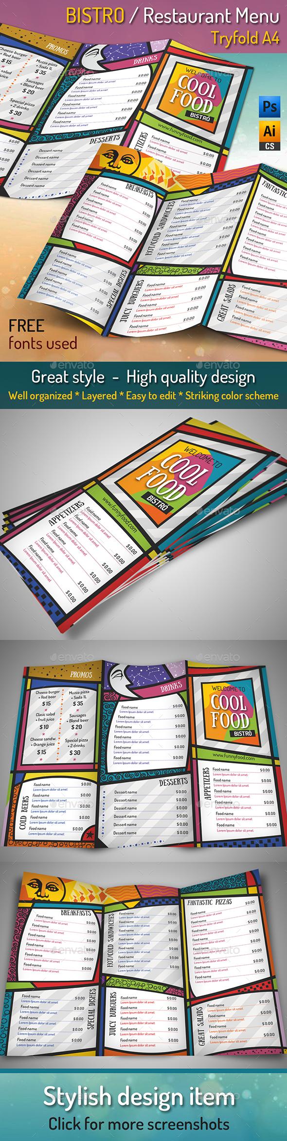 BISTRO / Restaurant Menu - Tryfold A4 - Food Menus Print Templates