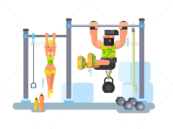 Man and Woman Fitness - People Characters