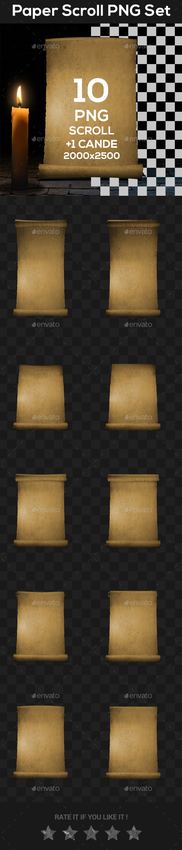 Paper Scroll PNG set - Objects 3D Renders