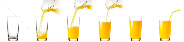 Process of pouring orange juice into a glass - Stock Photo - Images