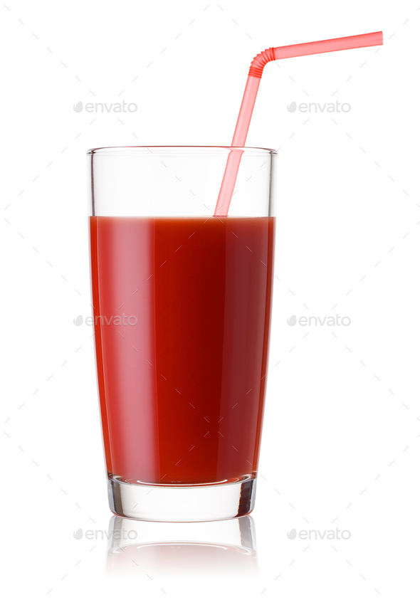 Tall glass of tomato juice with a red straw - Stock Photo - Images