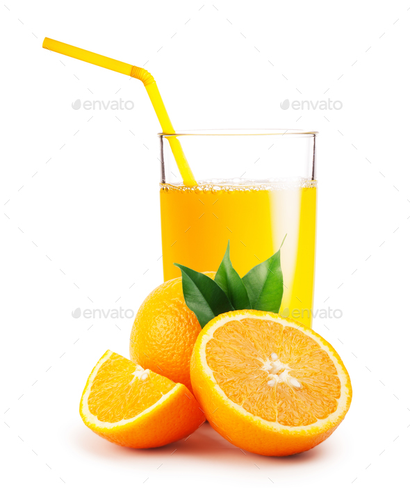 Glass of orange juice and the oranges - Stock Photo - Images