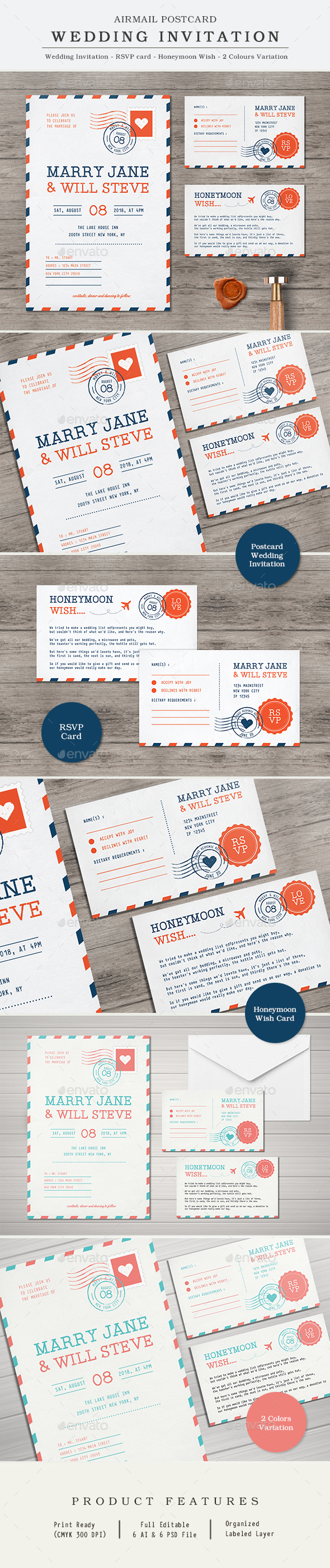 Airmail Wedding Invitation - Weddings Cards & Invites