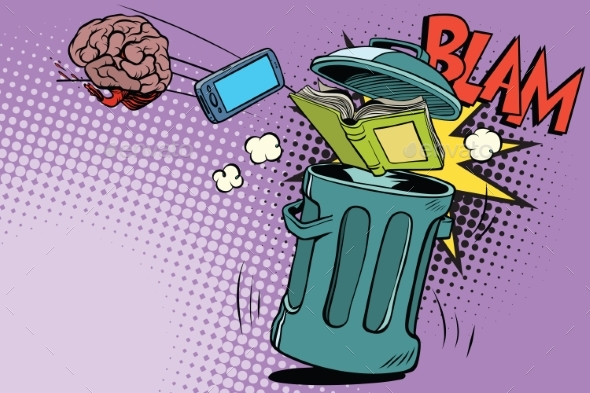 Brain Electronics and a Book Thrown in the Trash - Miscellaneous Vectors