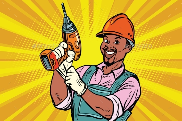 Construction Worker with a Drill - Concepts Business