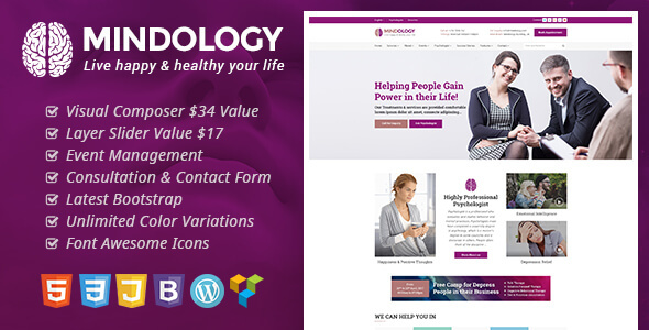 Mindology - Psychology WordPress Theme for Psychologist and Mental Health Websites