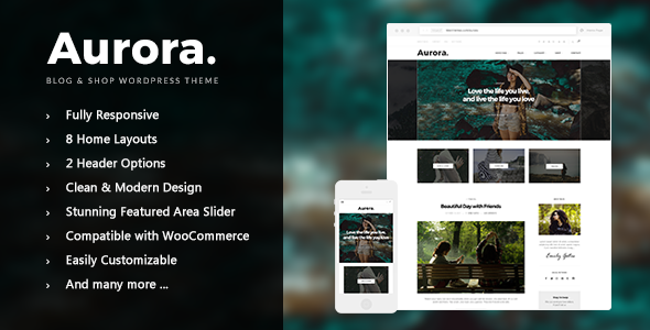 Aurora - Lifestyle Blog and Shop WordPress Theme