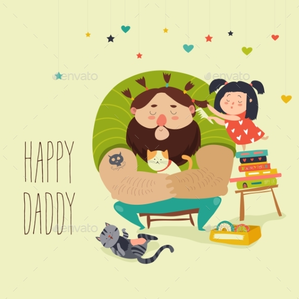 Daughter Makes a Hairdo for Dad - People Characters