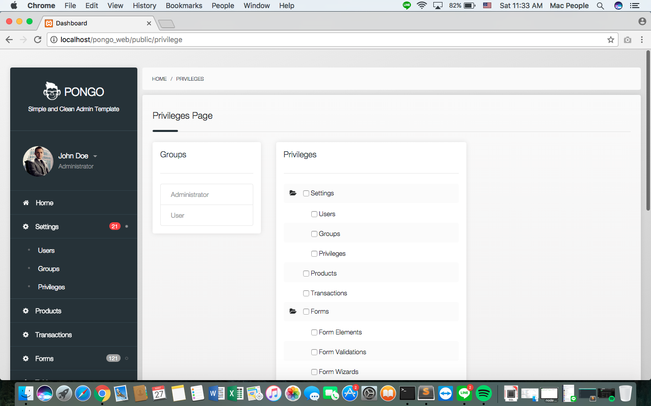 Pongo - Codeigniter Admin Template + User Management + CRUD