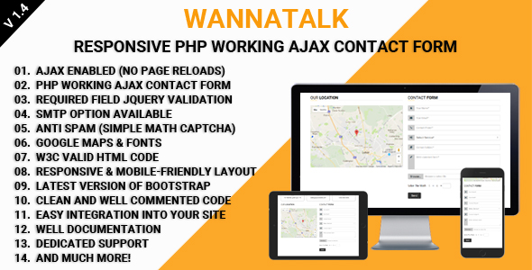 WannaTalk – Responsive PHP Working Ajax Contact Form