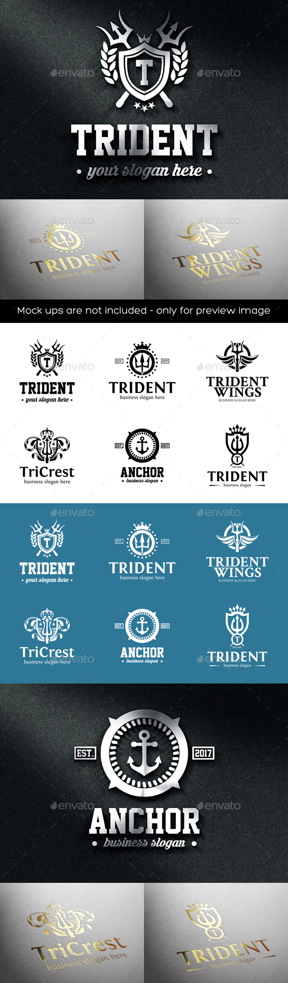Trident Crest Boutique Luxury Logo Emblems - Badges & Stickers Web Elements