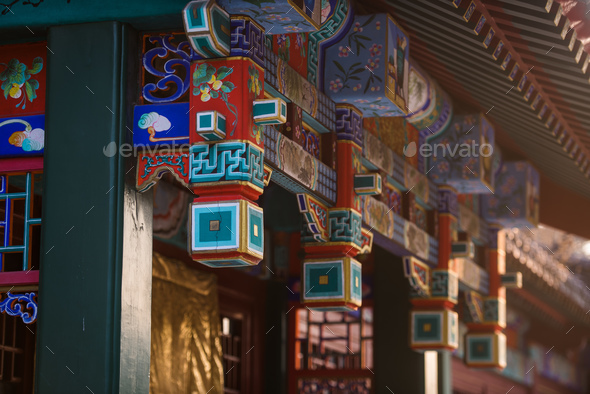 Street of Old chinese asian city on a sunset at hongluo temple - Stock Photo - Images