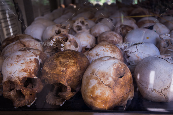 Human bones and skulls in tomb in Cambodia death fields - Stock Photo - Images