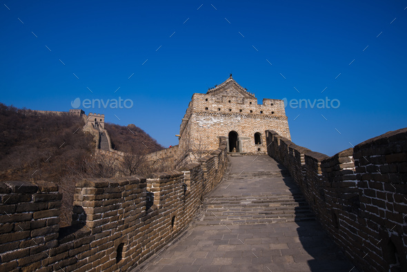 the great china wall with sunset glow - Stock Photo - Images
