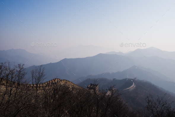 the great wall of china with a beautiful sunny day - Stock Photo - Images