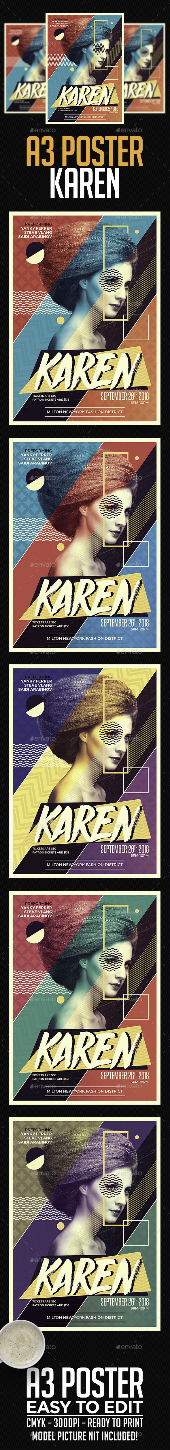 A3 Karen Poster Art Template - Miscellaneous Events