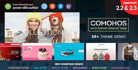 Comohos - Multipurpose Responsive Premium OpenCart 2.2 - 2.3 Theme with 28+ Unique Designs