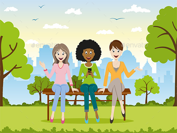 Three Woman Sitting on a Bench - People Characters