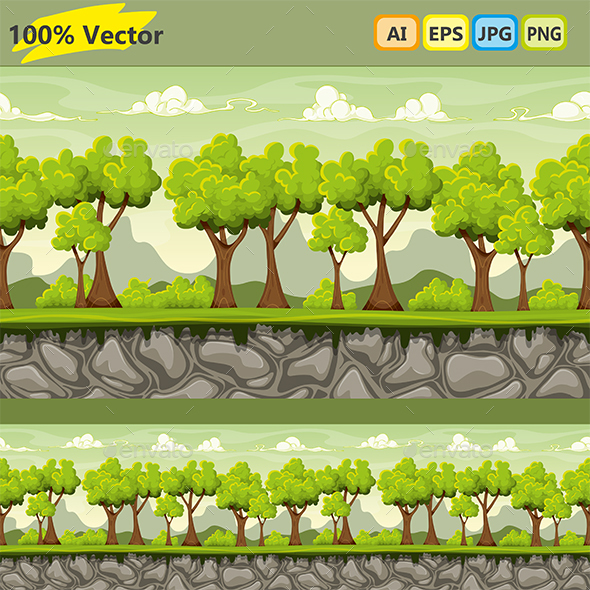 Seamless Nature Cartoon Background  with Separate Layers - Landscapes Nature