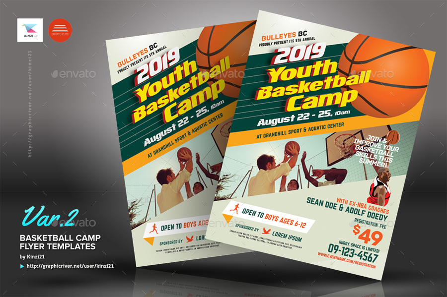 Basketball Camp Flyers by kinzi21 | GraphicRiver