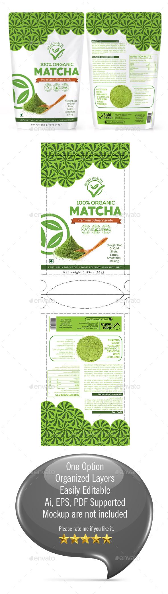 Matcha Tea Powder Packaging Template - Packaging Print Templates