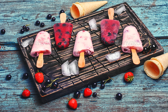 Ice cream with berries - Stock Photo - Images
