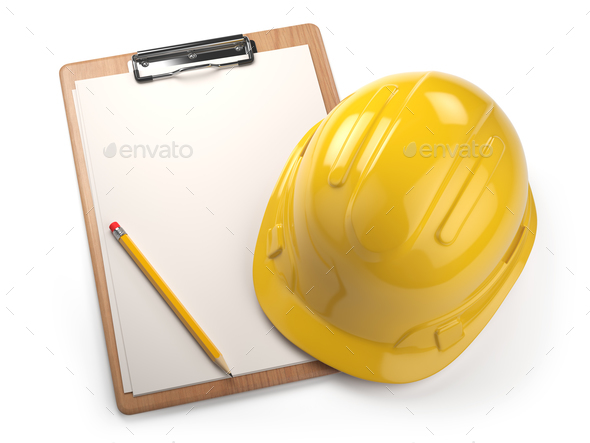 Hard hat with clipboard isolated on white background. Constructi - Stock Photo - Images