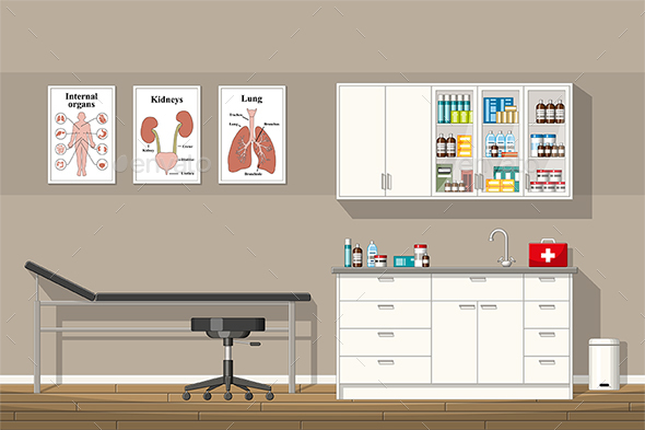 Illustration of a Doctor Office - Health/Medicine Conceptual