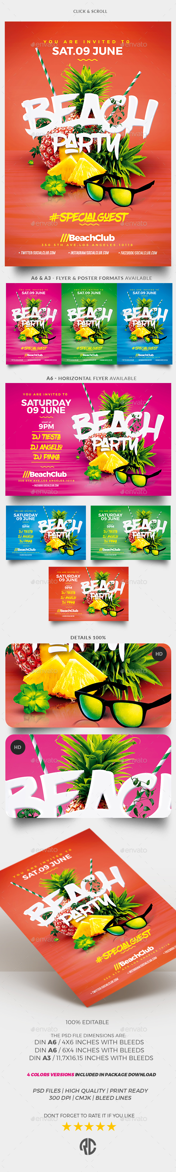 Summer Beach Party - Package - Events Flyers