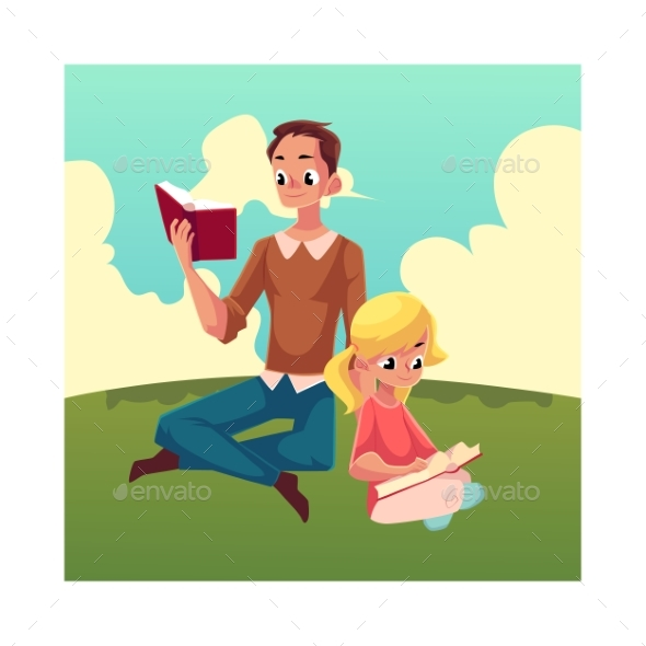 Young Man and Little Girl Reading Books Sitting - People Characters