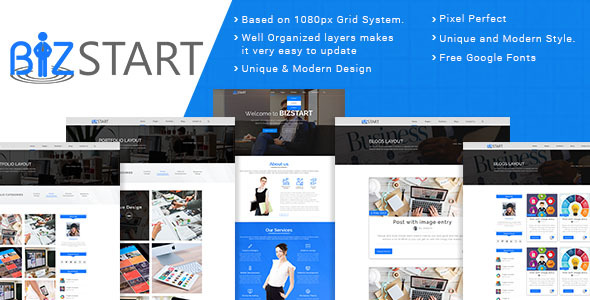 Bizstart Business Corporate PSD Template - Corporate PSD Templates