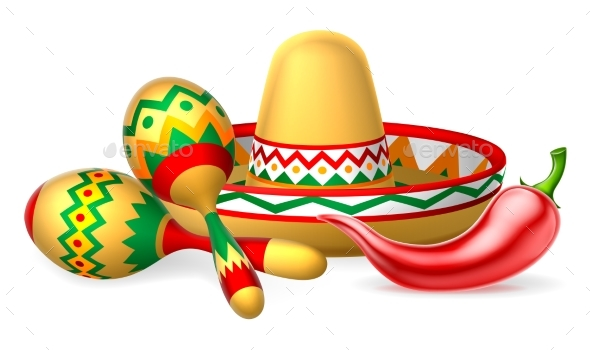 Mexican Sombrero Maracas and Chilli Pepper - Seasons/Holidays Conceptual