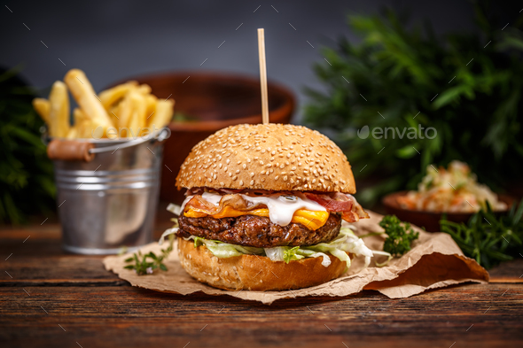 Burger with cheese - Stock Photo - Images