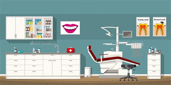Illustration of a Dentist Room - Health/Medicine Conceptual