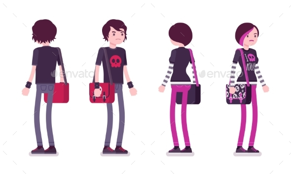 Emo Boy and Girl in Standing Pose - People Characters