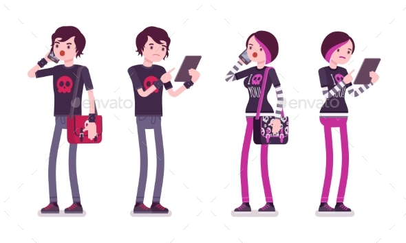 Emo Boy and Girl in Standing Pose with Gadgets - People Characters