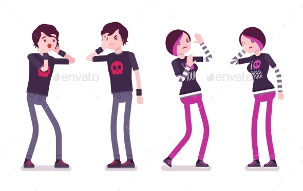 Emo Boy and Girl, Negative Emotions - People Characters