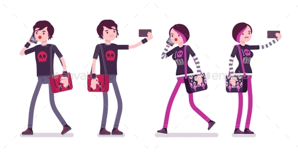 Emo Boy and Girl Walking, Standing with Gadgets - People Characters
