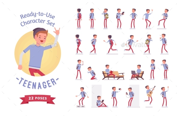 Ready-to-use Teenager Boy Character Set, Various - People Characters