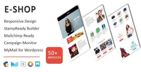 E-Shop - Ecommerce Responsive Email Template with Stampready Builder Access - Email Templates Marketing