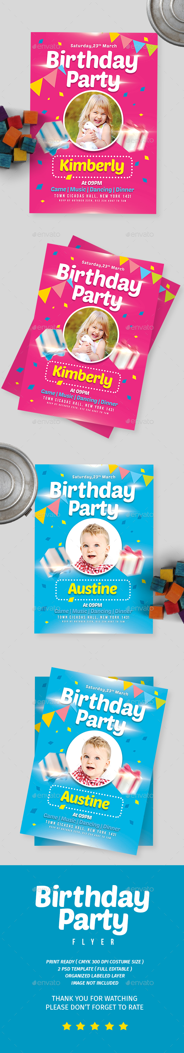 Kids Birthday Party Invitation - Flyers Print Templates
