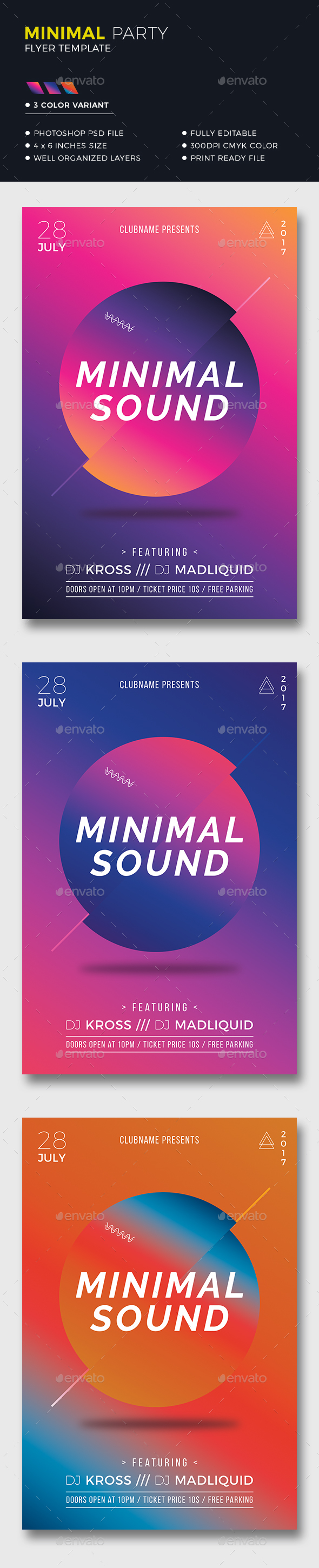 Colorful Minimal Flyer - Clubs & Parties Events