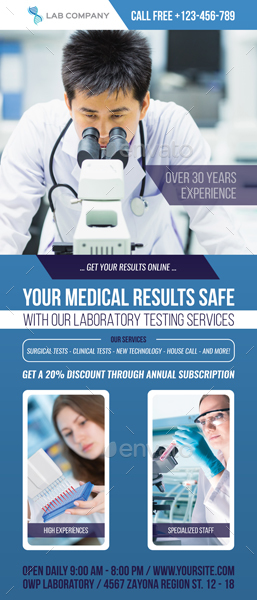 Medical Laboratory Signage Roll Up Banner Template