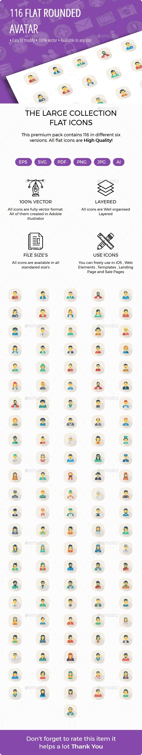 100 Avatar Flat Square Rounded Shadow - Characters Icons